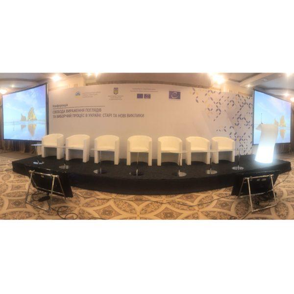 подиум баннер мягкая мебель на конференцию аренда киев